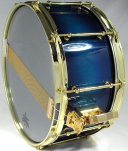 Maple Stave Snare Drum with blue NGR stain