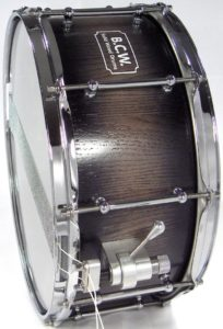 Oak Stave Snare Drum With Black NGR Stain And Chrome Hardware
